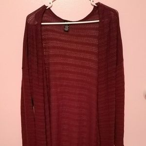 Long Lacey Cardigan Burgundy